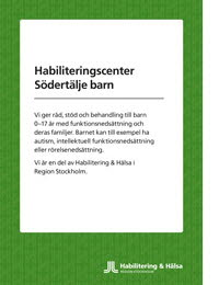 Habiliteringscenter Södertälje barns folder